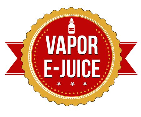 e cigarette: Vapor e-juice label or sticker on white background, vector illustration