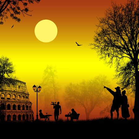 Travelers couple silhouette in front of Colosseum in Rome on sunset , vector illustration