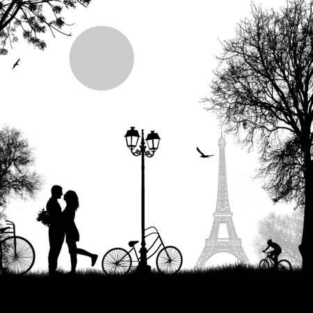 dating: Lovers in Paris on white background. Romantic scene, vector illustration
