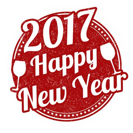 Happy new year grunge rubber stamp on white background, vector illustration