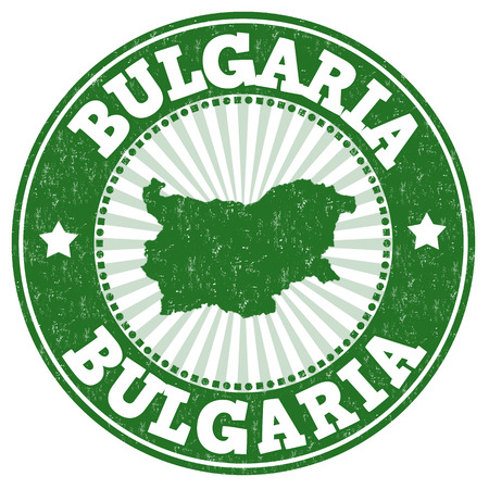Grunge rubber stamp with the name and map of Bulgaria, vector illustration Illustration