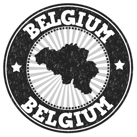 poststempel: Grunge Stempel mit dem Namen und Karte von Belgien, Vektor-Illustration