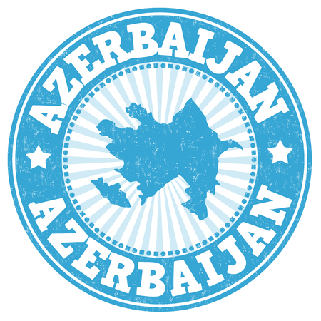 Grunge rubber stamp with the name and map of Azerbaijan, vector illustration