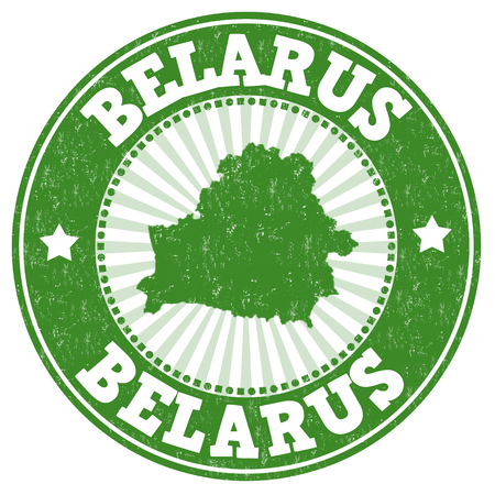 Grunge rubber stamp with the name and map of Belarus, vector illustration Illustration