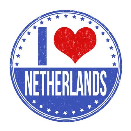love letter: I love Netherlands grunge rubber stamp on white background, vector illustration
