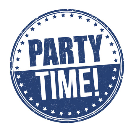 white party: Party time grunge rubber stamp on white background Illustration