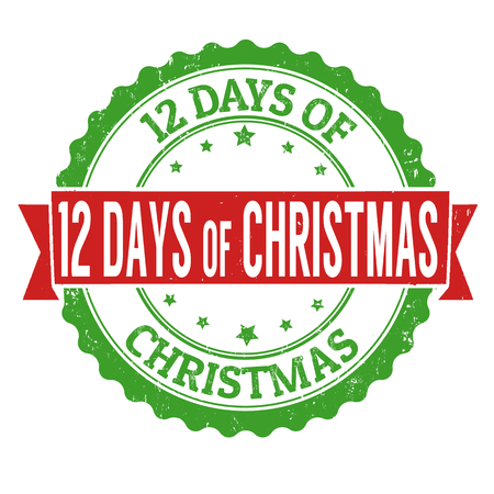 12 days of christmas: 12 Days of Christmas grunge rubber stamp on white background Illustration