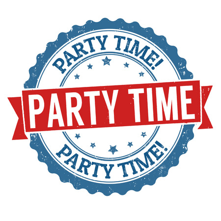 white party: Party time grunge rubber stamp on white background, Illustration