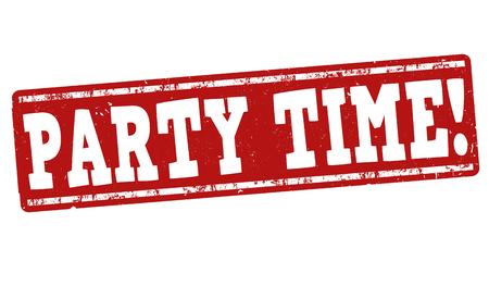 白い背景の上のパーティー タイム グランジ ゴム印  イラスト・ベクター素材