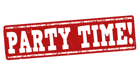 Party time grunge rubber stamp on white background Illustration