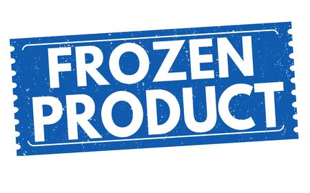 alimentos congelados: Congelado grunge sello de goma del producto en el fondo blanco