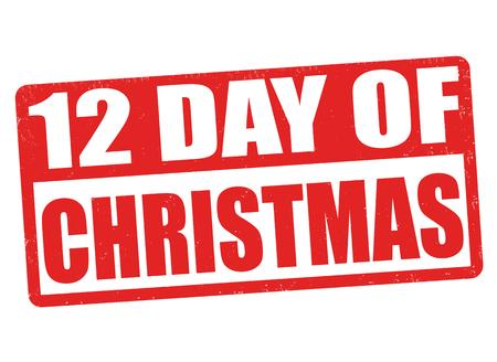 days: 12 Days of Christmas grunge rubber stamp on white background Illustration