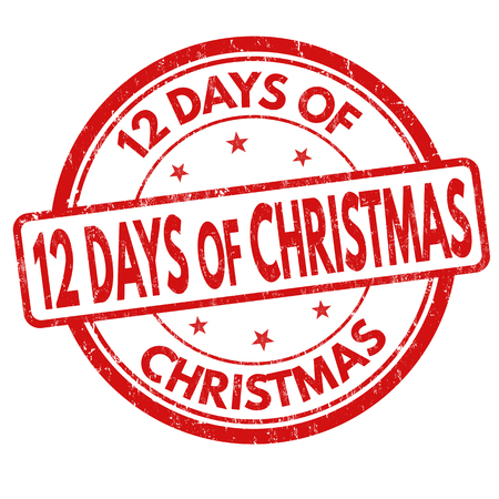 12: 12 Days of Christmas grunge rubber stamp on white background Illustration