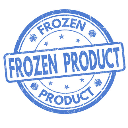 Frozen product grunge rubber stamp on white background Vettoriali