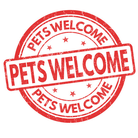 dog allowed: Pets welcome  grunge rubber stamp on white background Illustration