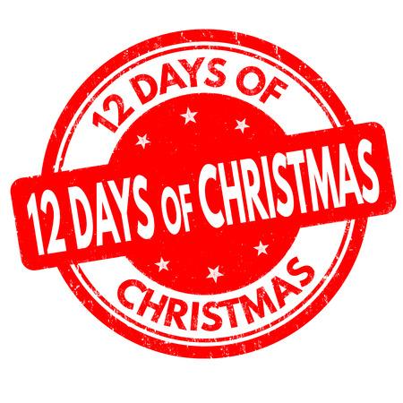 dia: 12 días de sello de goma del grunge de Navidad en el fondo blanco