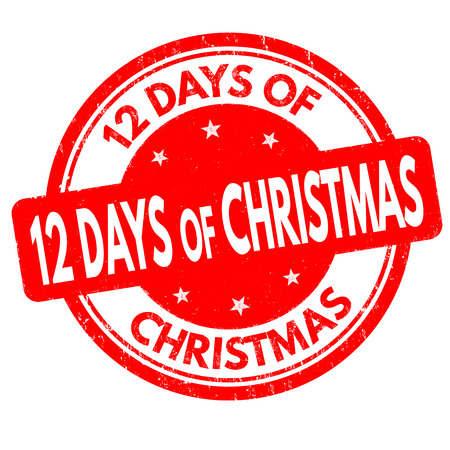 12 Days of Christmas grunge rubber stamp on white background