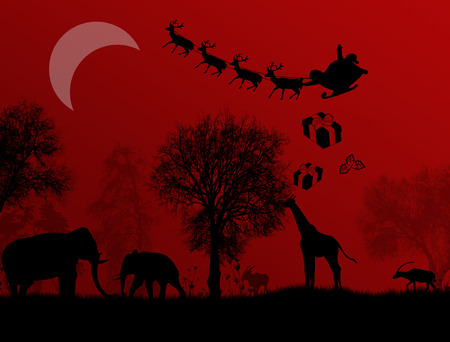 safaris: Santa Claus in Africa - silhouettes of wild animals and flying Santa on red night, vector background