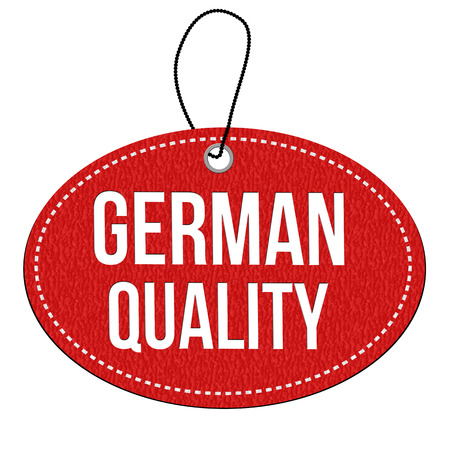 German quality red leather label or price tag on white background, vector illustration