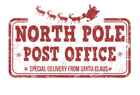North Pole post office grunge rubber stamp on white background, vector illustration