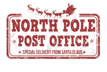 Polo Norte oficina de correos grunge sello de goma en el fondo blanco, ilustración vectorial