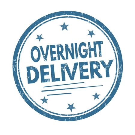 overnight delivery: Overnight delivery grunge rubber stamp on white background, vector illustration Illustration