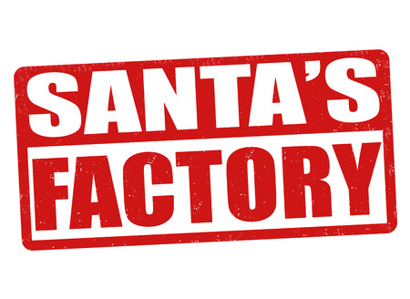 produced: Santas factory grunge rubber stamp on white background, vector illustration