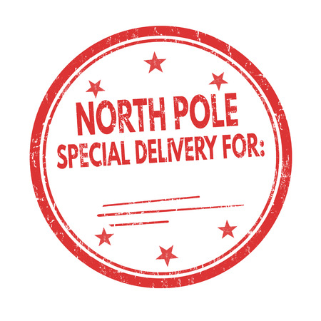 North Pole special delivery grunge rubber stamp on white background, vector illustration