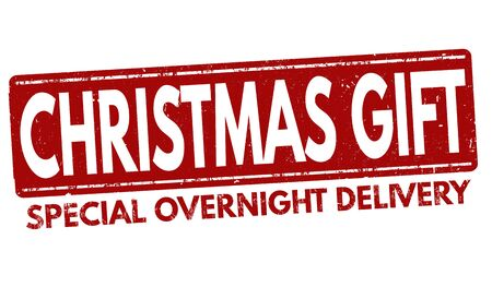 overnight delivery: Christmas gift grunge rubber stamp on white background, vector illustration
