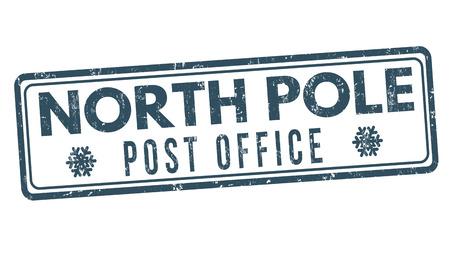timbre postal: Polo Norte oficina de correos grunge sello de goma en el fondo blanco, ilustración vectorial