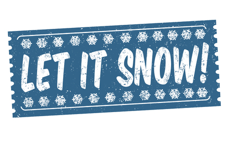 let: Let it snow grunge rubber stamp on white background, vector illustration