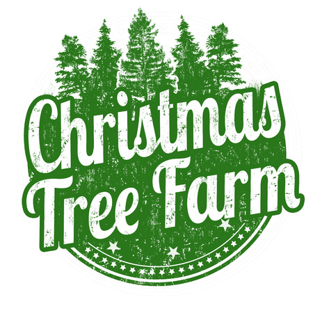 coniferous: Christmas tree farm grunge rubber stamp on white background, vector illustration