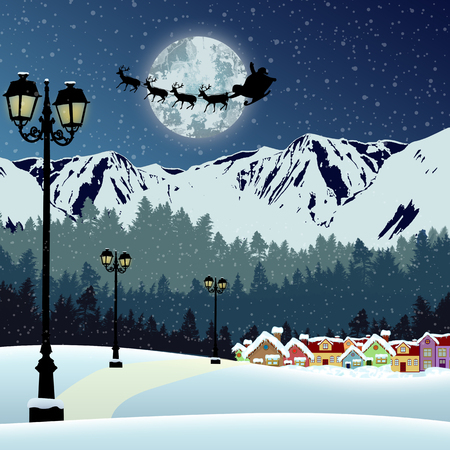 beautiful landscape: Santas sleigh in front of full moon in beautiful snowy landscape over mountains on blue night