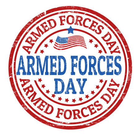 regiment: Grunge rubber stamp with the text Armed Forces Day written inside, vector illustration