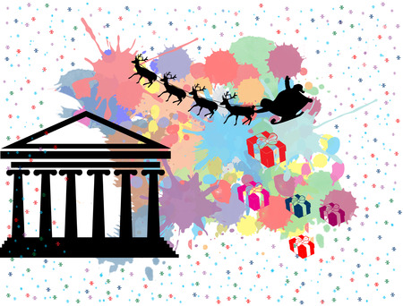 Santas sleigh flying over Athens in vintage grunge poster with colored splash background, vector illustration
