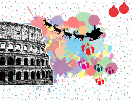 Santas sleigh flying over Rome in vintage grunge poster with colored splash background, vector illustration