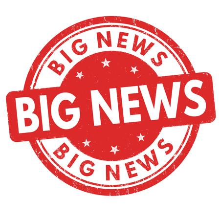 announcement: Big news grunge rubber stamp on white background, vector illustration Illustration