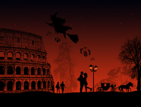 italy background: People at night in Rome with witch Befana sitting on a broomstick  flying over a city, vector illustration
