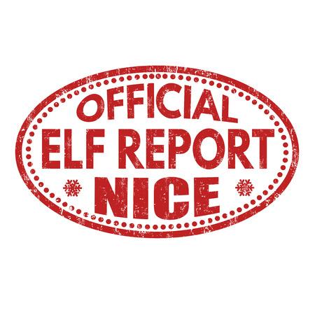 Elf officiel rapport gentil grunge rubber stamp sur fond blanc, illustration vectorielle