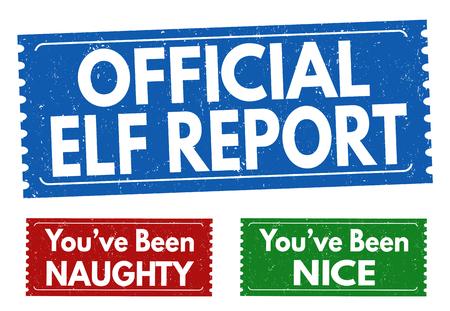 Elfe officiel rapport grunge rubber stamp sur fond blanc, illustration vectorielle