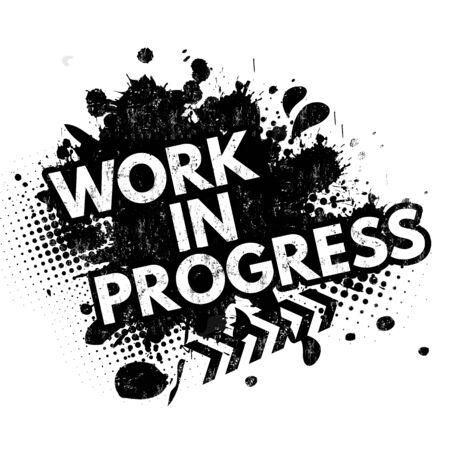 Work in progress grunge rubber stamp on white background, vector illustration Illustration