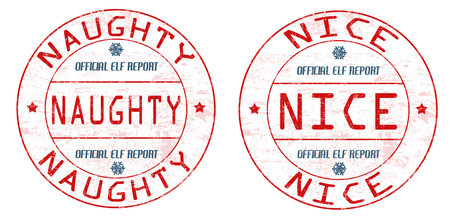 naughty or nice: Naughty and nice grunge rubber stamps on white background, vector illustration Illustration