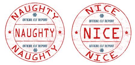 sellos de goma del grunge travieso y agradable en el fondo blanco, ilustración vectorial Ilustración de vector