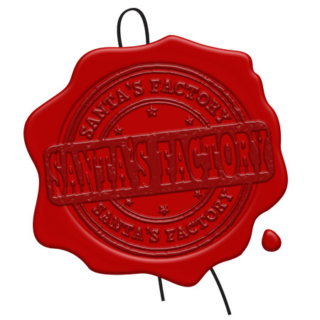 certificated: Santas Factory red wax seal isolated on white background, vector illustration