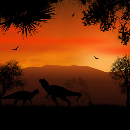 Dinosaurs silhouettes in beautiful landscape on sunset background, vector illustration