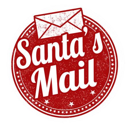 Timbro di gomma del grunge della posta di Santa su fondo bianco, illustrazione di vettore