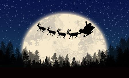 night moon: Santas sleigh in front of full moon on beautiful blue night, vector illustration