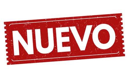 recent: Nuevo (new) grunge rubber stamp on white ( in spanish language), vector illustration