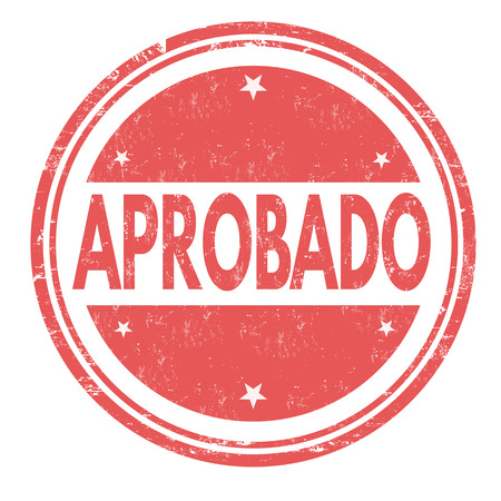 permission granted: Aprobado (approved) grunge rubber stamp on white ( in spanish language), vector illustration Illustration