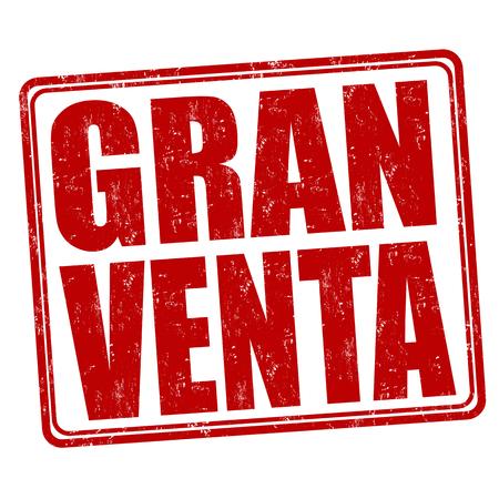gran: Gran venta (big sale) grunge rubber stamp on white ( in spanish language), vector illustration